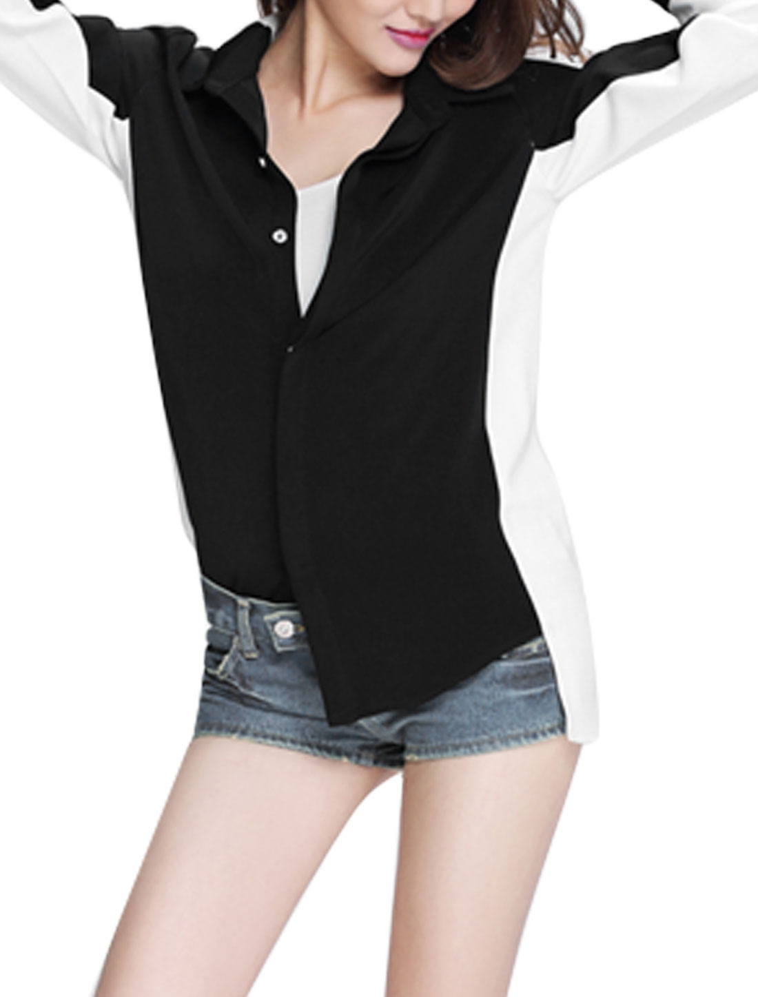 Women Point Collar Color Blocked Long Sleeves Casual Shirts Black White S