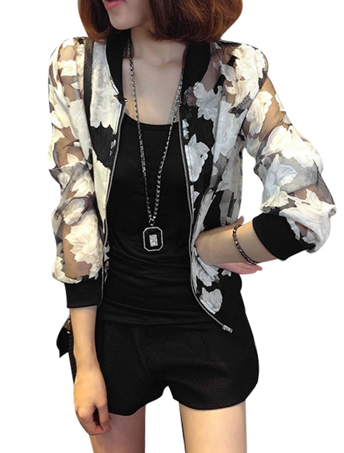 Women Stand Collar Floral Prints Semi Sheer Organza Jacket Black White XS