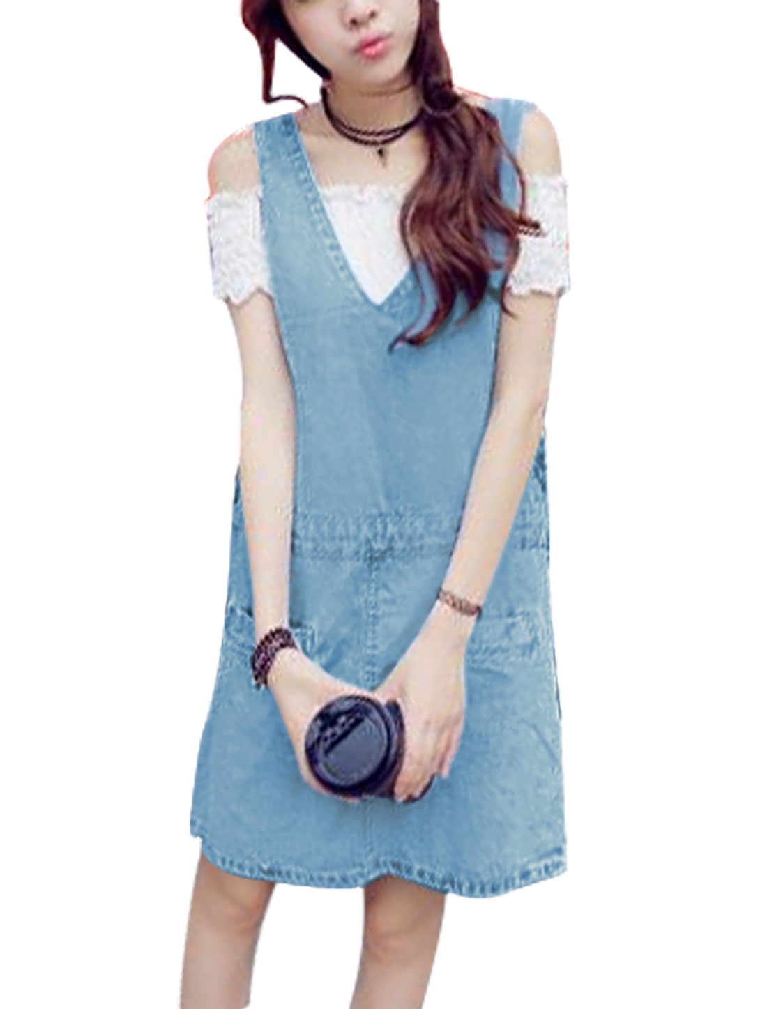Ladies Adjustable Strap Sleeveless Pockets Casual Suspender Dress Sky Blue XS