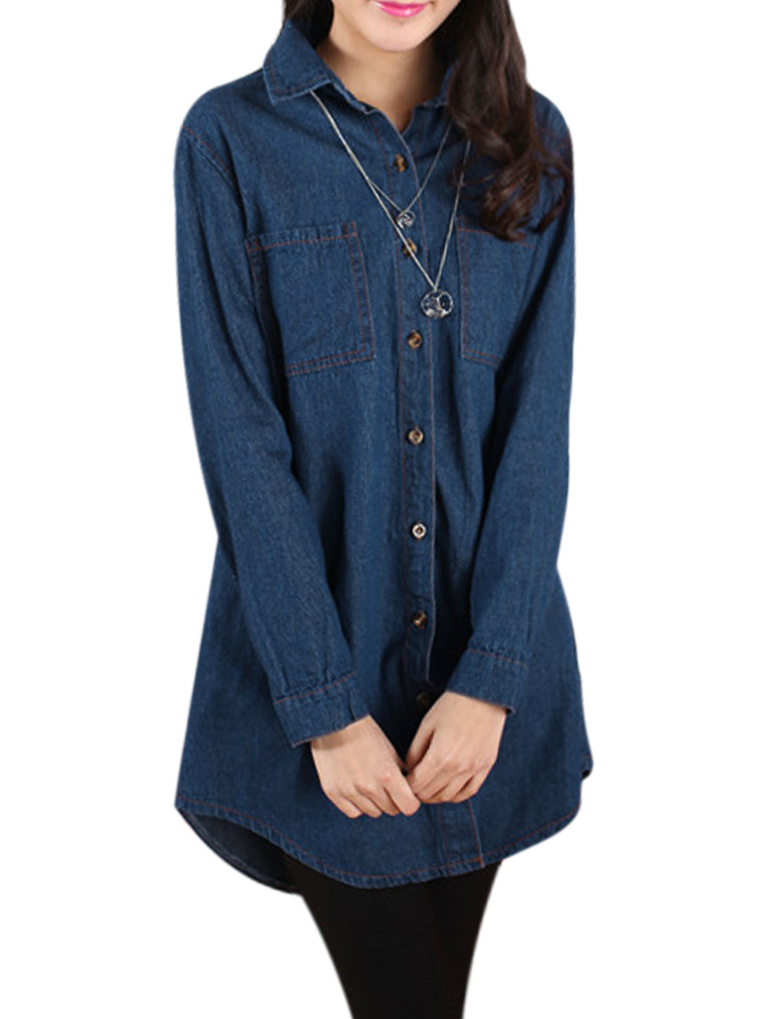 Women Long Sleeves Button Down Round Hem Longline Denim Jackets Dark Blue XS