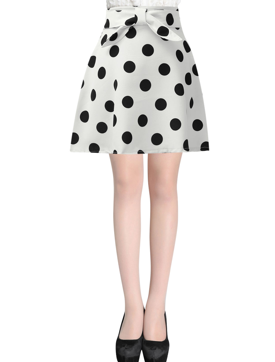Ladies Polka Dots Prints Bowknot Decor Front A Line Skirt White S