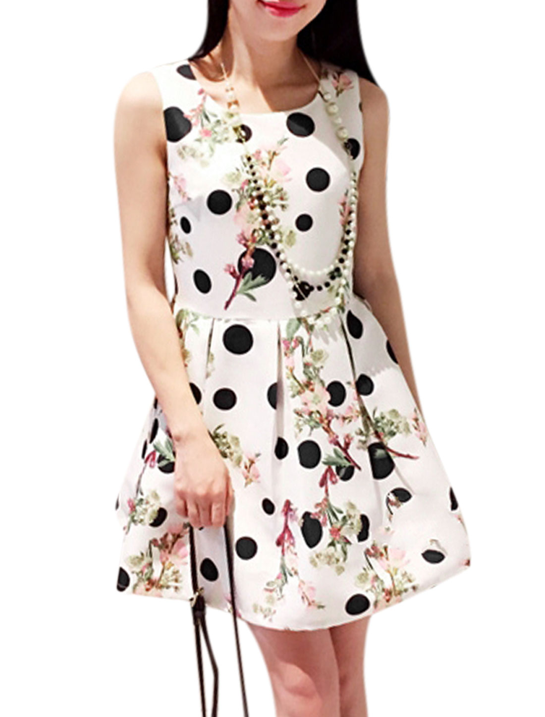 Woman Polka Dots Floral Prints Sleeveless Round Neck A Line Dress White XS