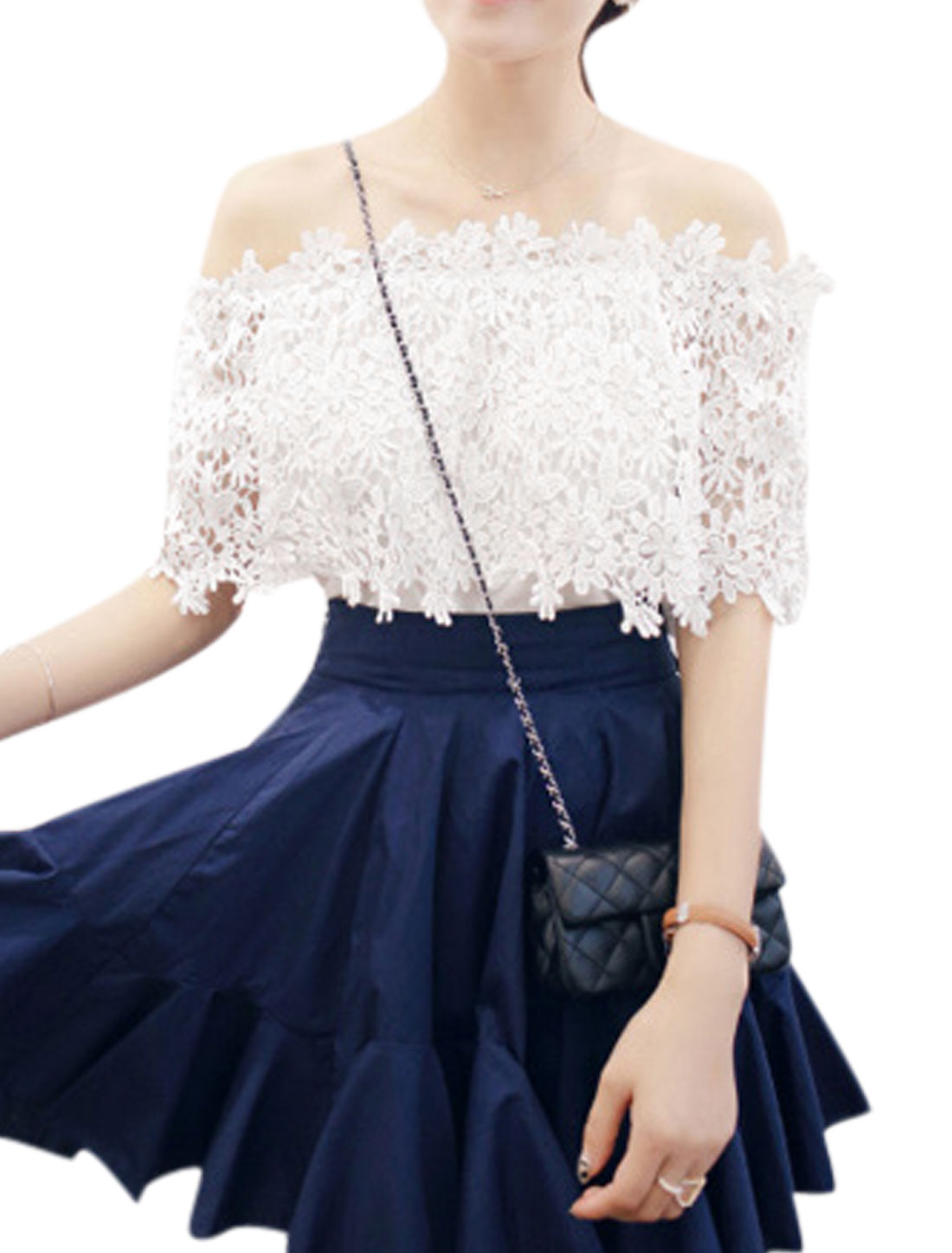 Women Sleeveless Off Shoulder Layered Elastic Trim Casual Top White S