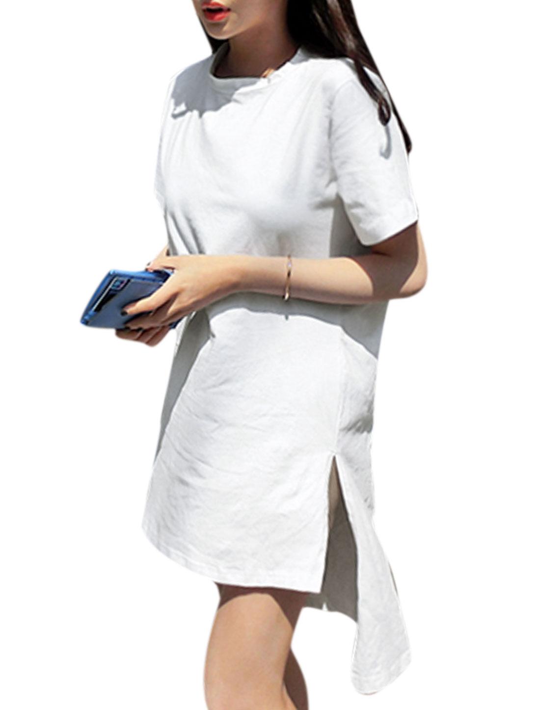 Woman Short Sleeves Split Sides High Low Hem Tunic Tops White XS