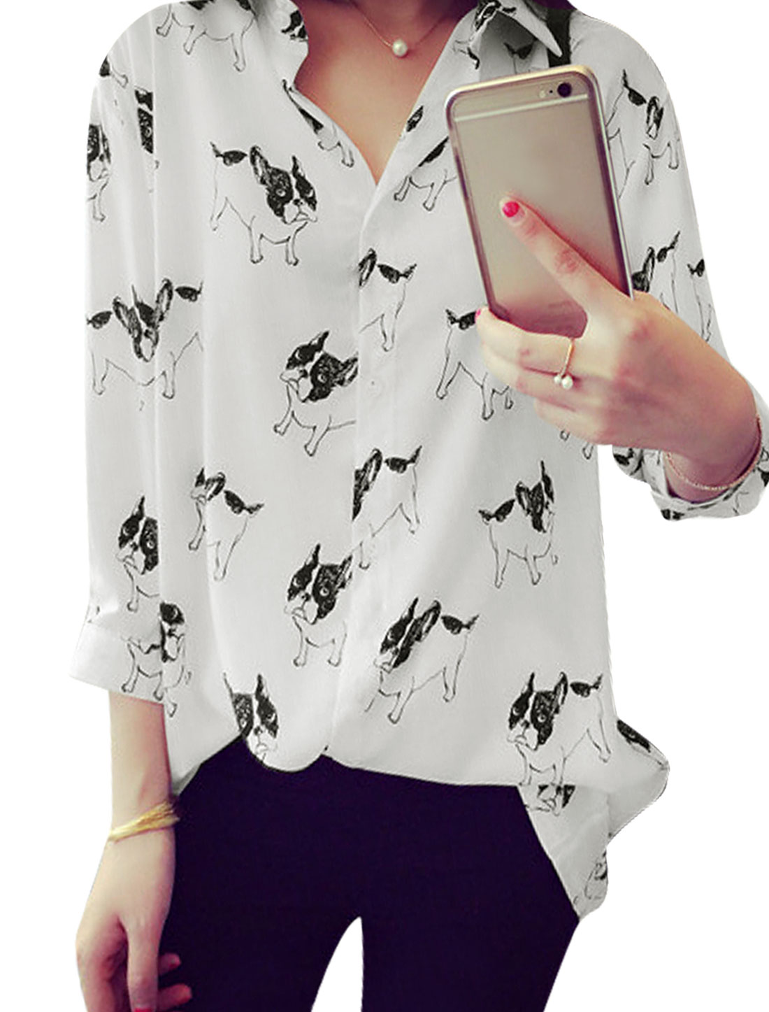 Women Button Up Bracelet Sleeves Dogs Prints Casual Long Shirt White XS