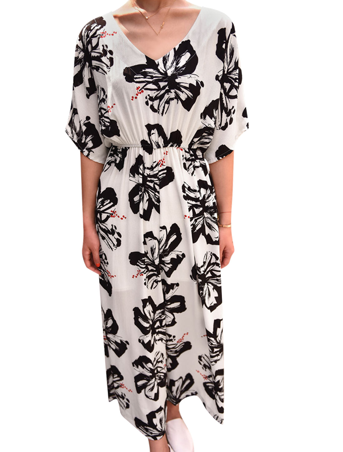 Woman Floral Prints V Neck Elbow Sleeves Elastic Waist Jumpsuit Off White XS