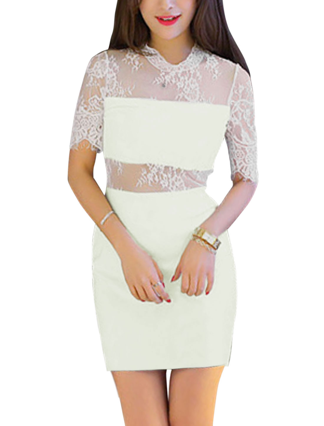 Ladies Lace Panel Semi Sheer Detail Sheath Dress White XS