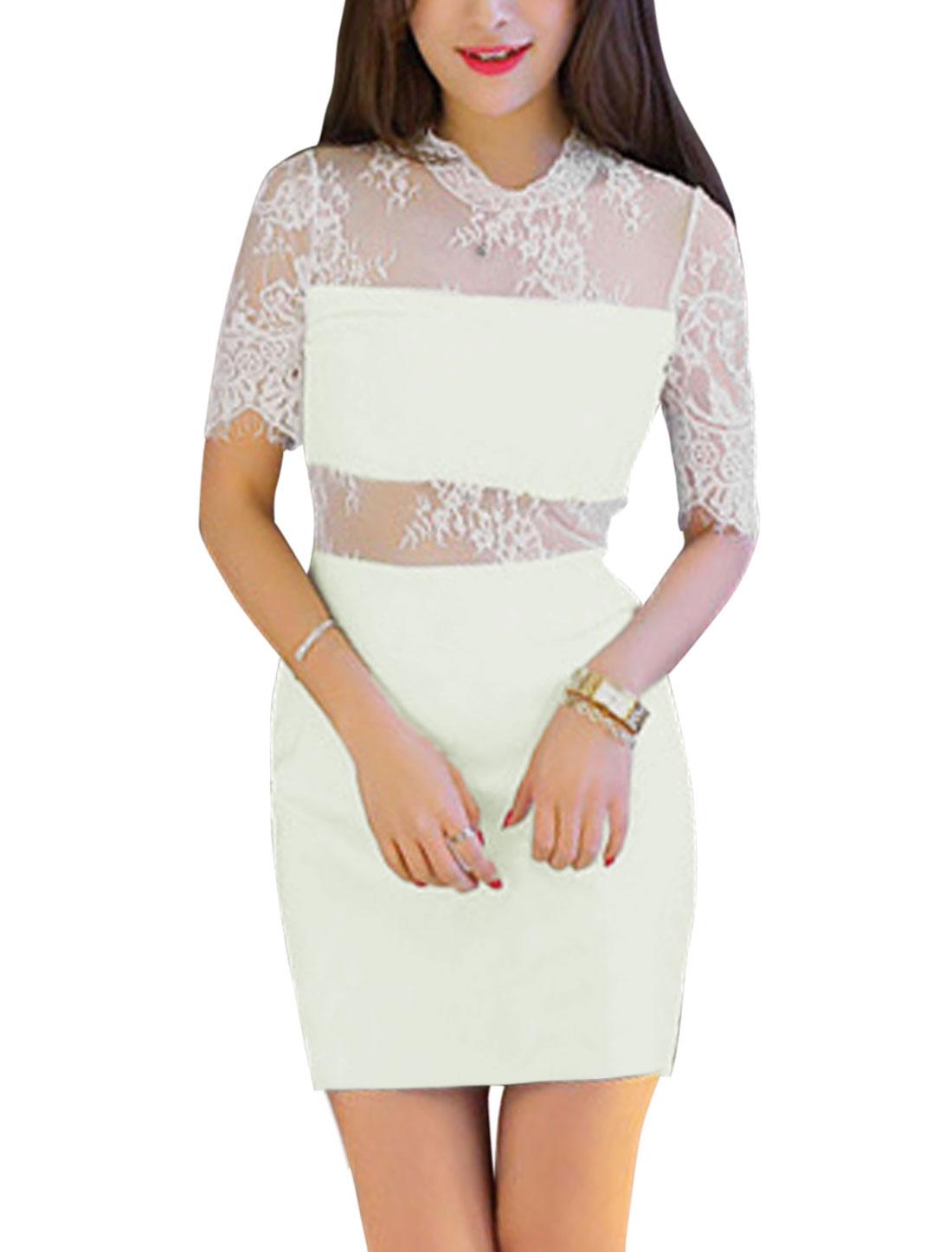 Ladies Lace Panel Semi Sheer Detail Sheath Dress White XS