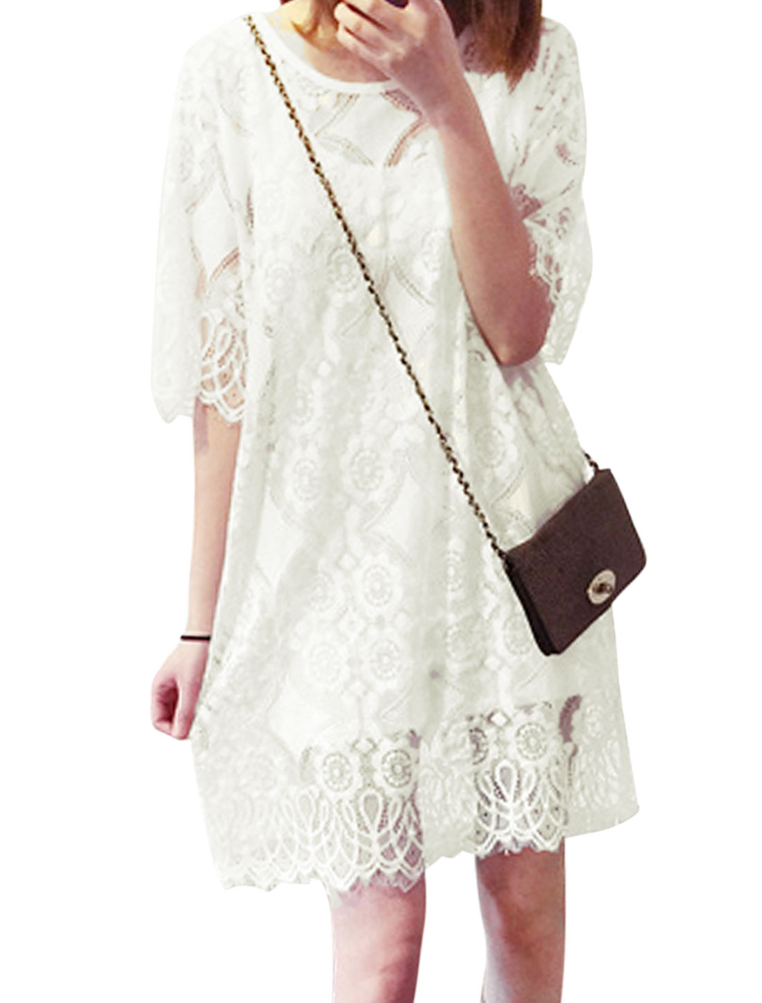 Woman Floral Hollow Out Elbow Sleeves Lace Tunic Dress White XS