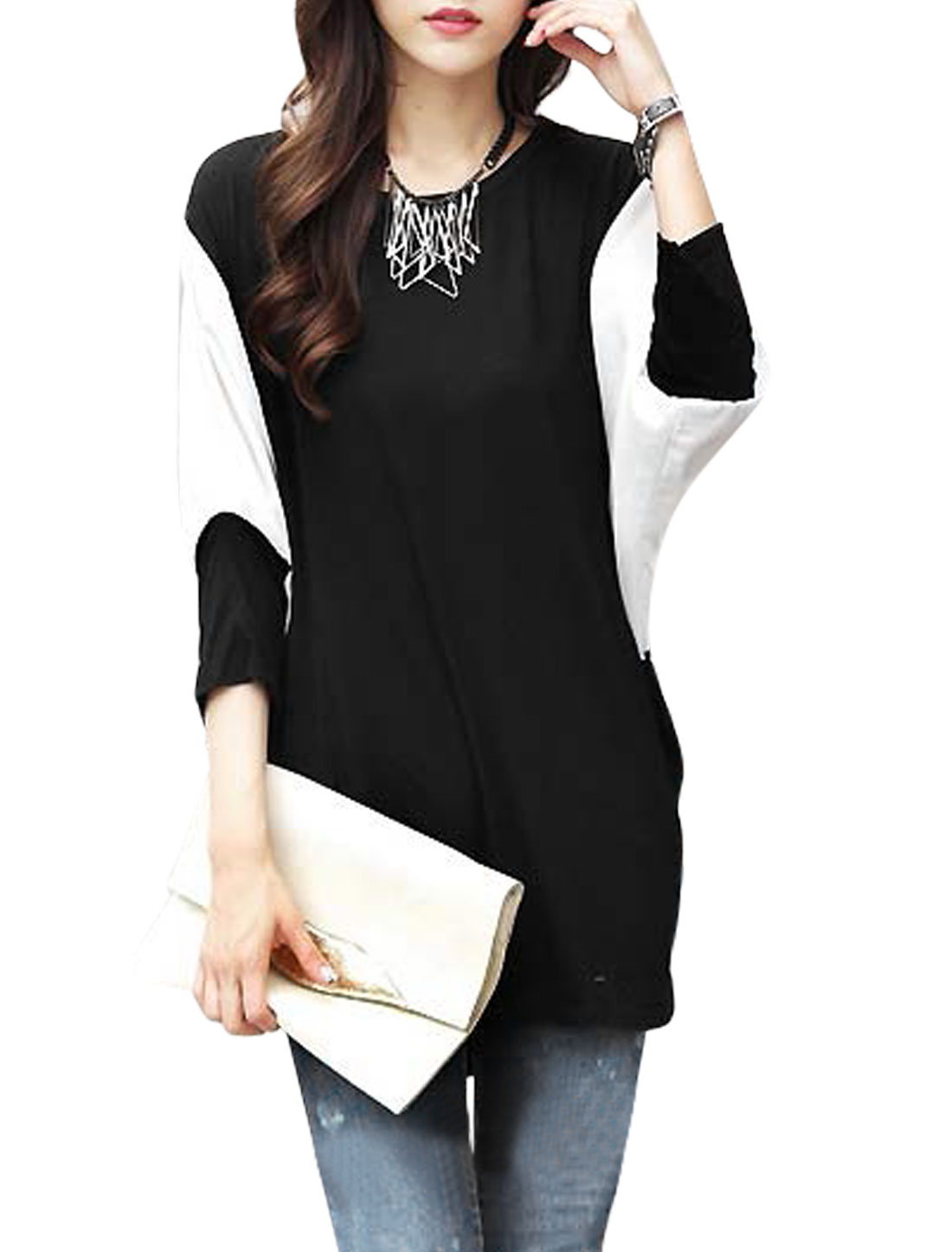 Ladies Dolman Sleeve Round Neck Contrast Color Casual Tunic Top Black S