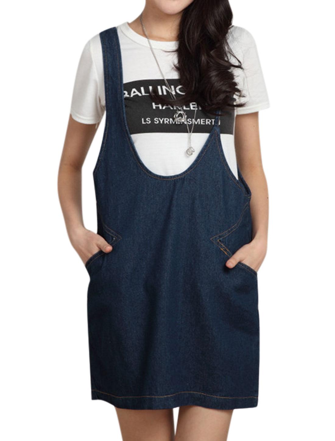 Ladies Sleeveless Two Pockets Front Irrgular Suspender Denim Dress Dark Blue XS