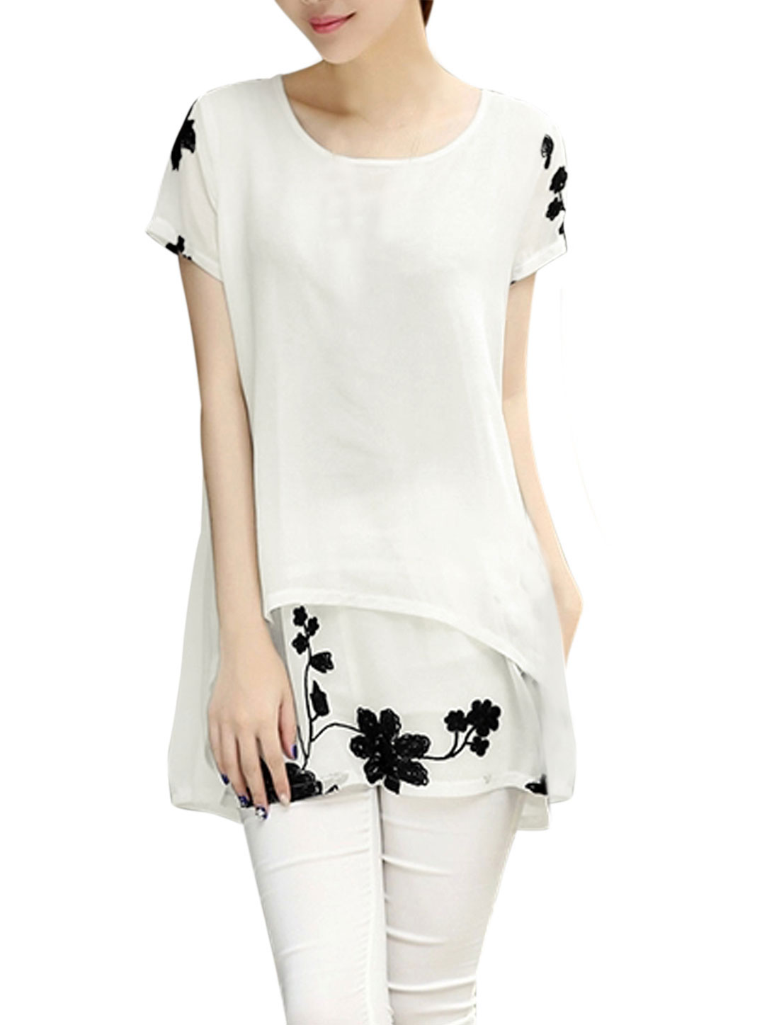 Woman Floral Embroidery Scoop Neck Chiffon Layered Tunic Top White XS