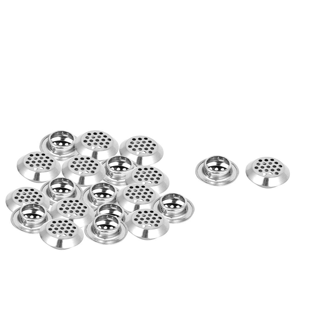 Metal 21mm Bottom Dia Perforated Round Mesh Air Vents Ventilation Louvers 20pcs