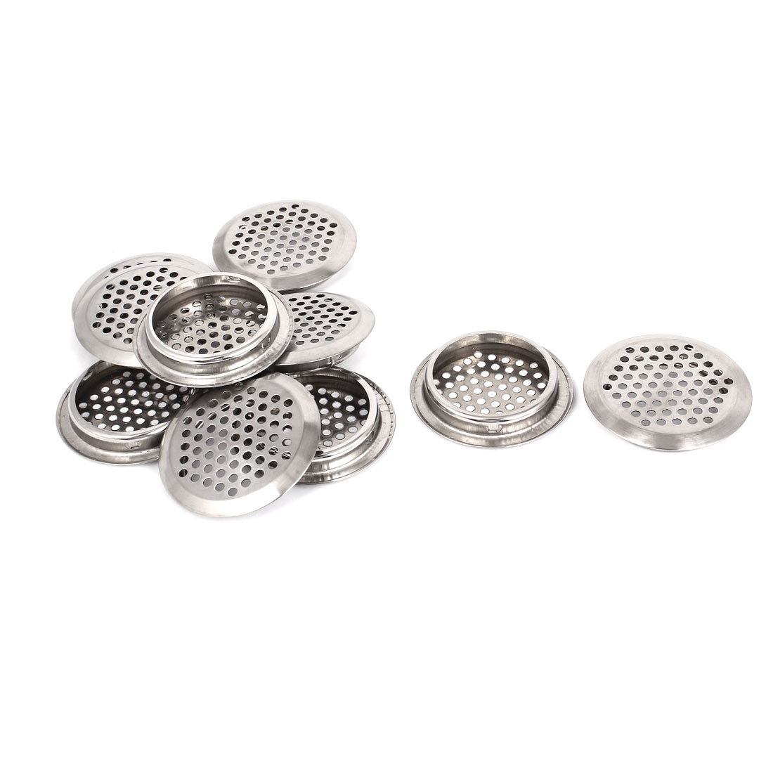 Metal 53mm Bottom Dia Perforated Round Mesh Air Vents Ventilation Louvers 10pcs