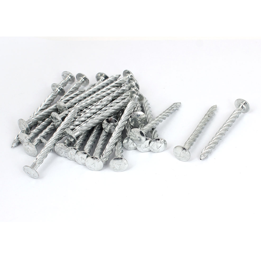 74mm Length x 7mm Dia Galvanised Square Twist Nails Spiral Screw 30pcs
