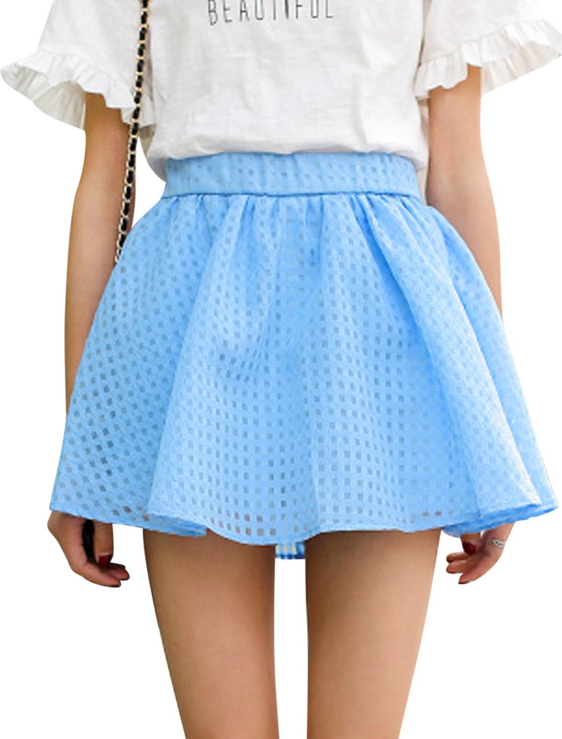 Women Elastic Waist Plaids Design Mid Rise Casual Skorts Blue XS