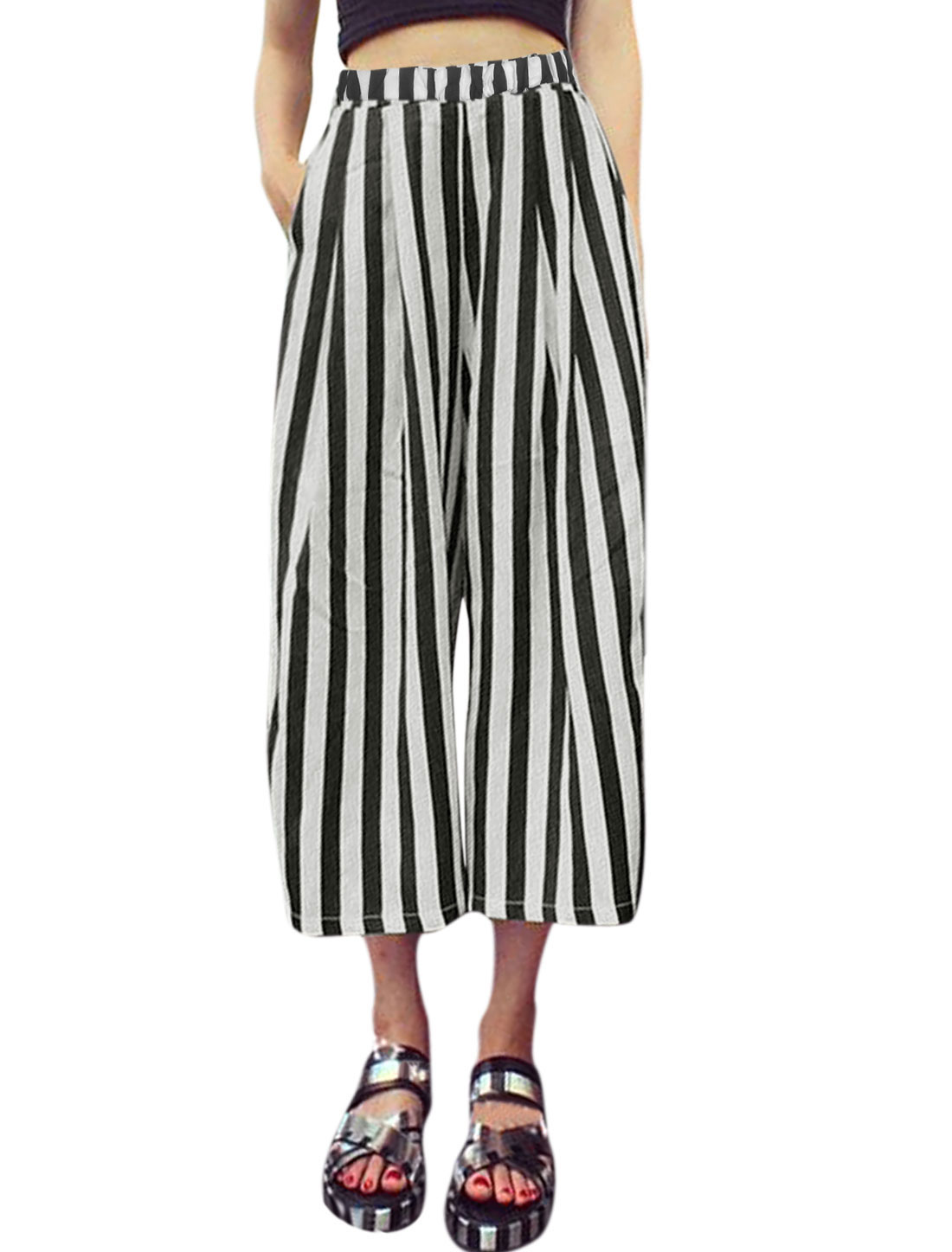 Woman Vertical Stripes Elastic Waist Four Pockets Wide Leg Pants Black White XS