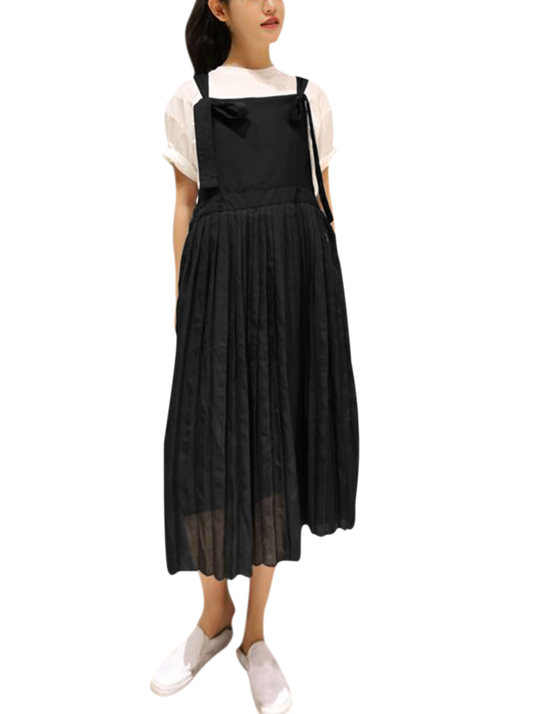 Women Adjustable Straps Pleated Elastic Waist Chiffon Suspender Dress Black XS