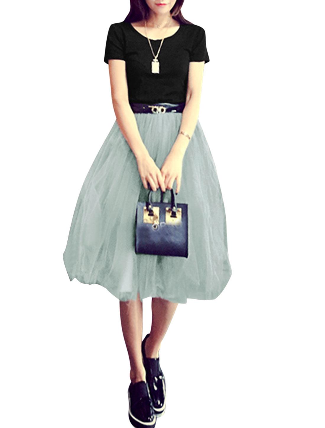 Women Short Sleeves T-Shirts w Elastic Waist Full Lined Mesh Skirts Black Gray M