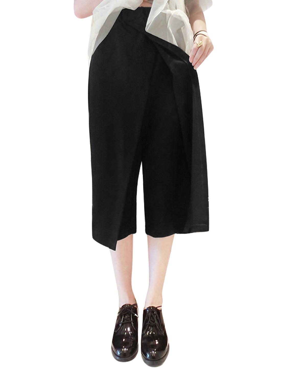 Woman Cross Front Wrap Elastic Waist Wide Leg Capris Pants Black XS