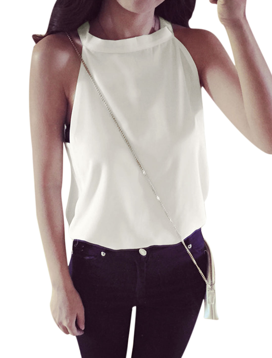 Women Halter Neck Sleeveless Cut Out Back Chiffon Tops White XS