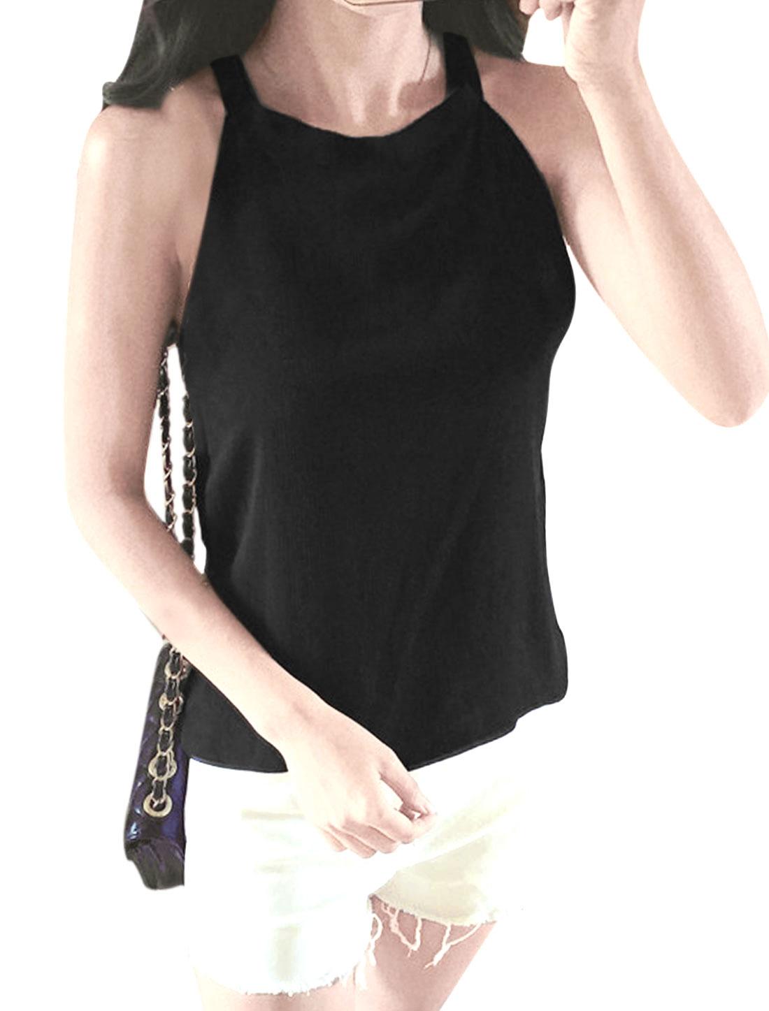 Ladies Halter Neck Sleeveless Self Tie Back Chiffon Tops Black XS