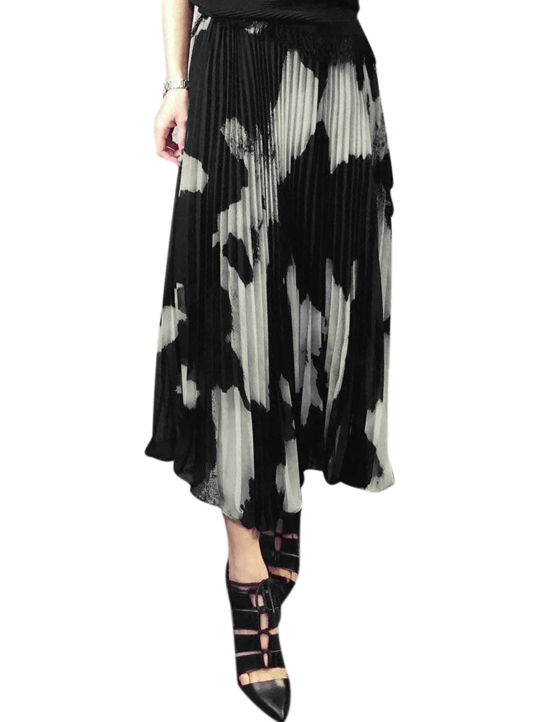 Woman Elastic Waist Novelty Prints Partially Lined Chiffon Pleated Skirt Black White S