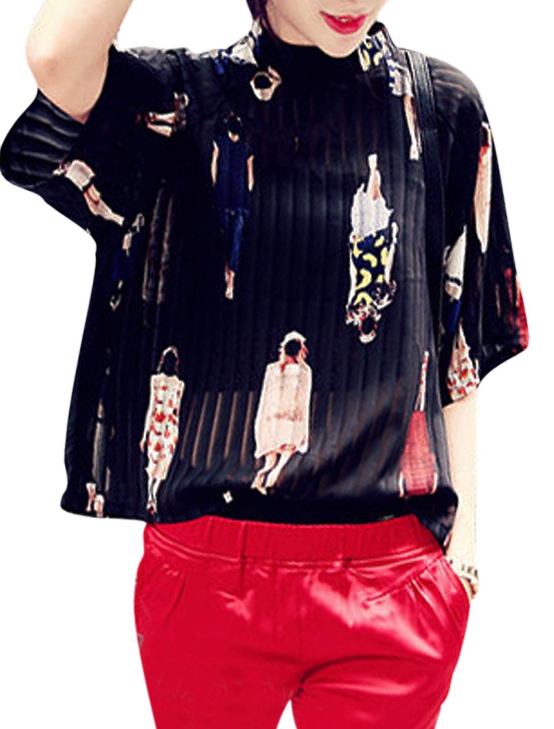 Lady Human Pattern Stand Collar Raglan Sleeves Chiffon Blouse Black XS