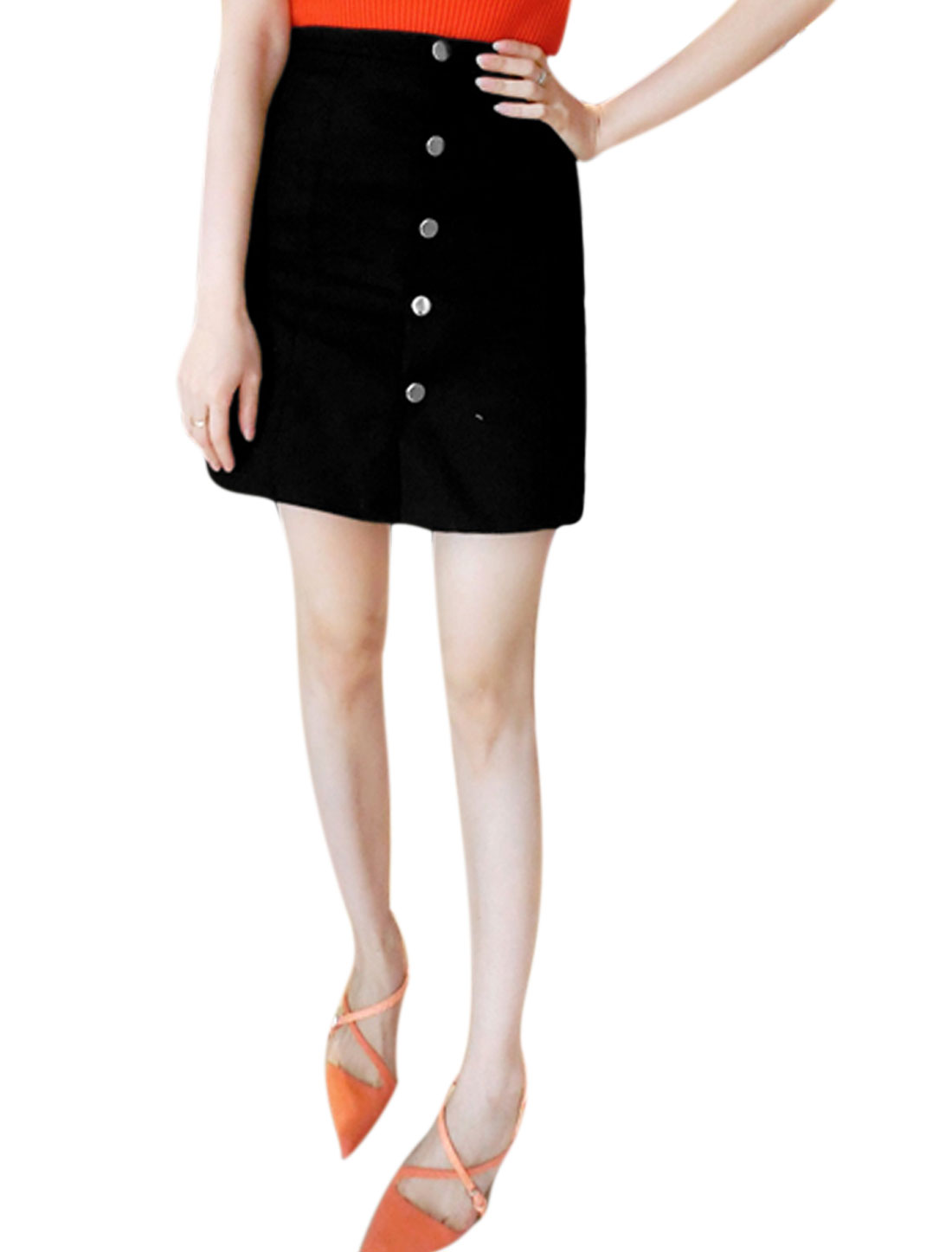 Ladies Single Breated Unlined Casual Mini Skirts Black XS