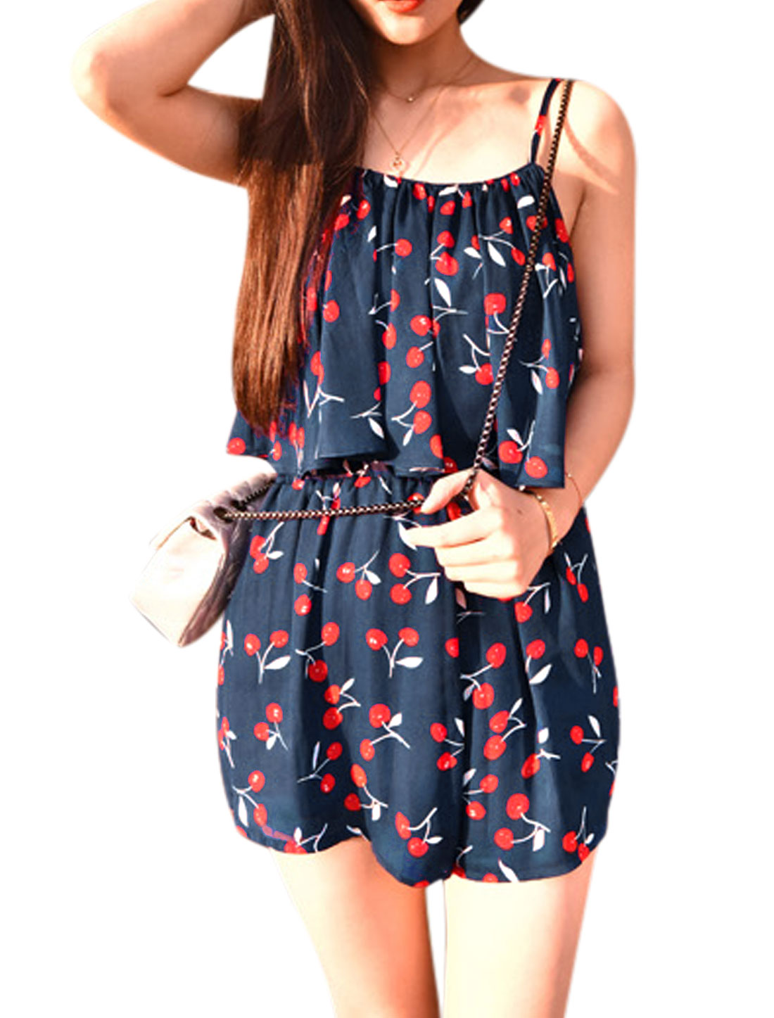 Woman Cherry Pattern Spaghetti Straps Elastic Waist Chiffon Playsuit Dark Blue XS