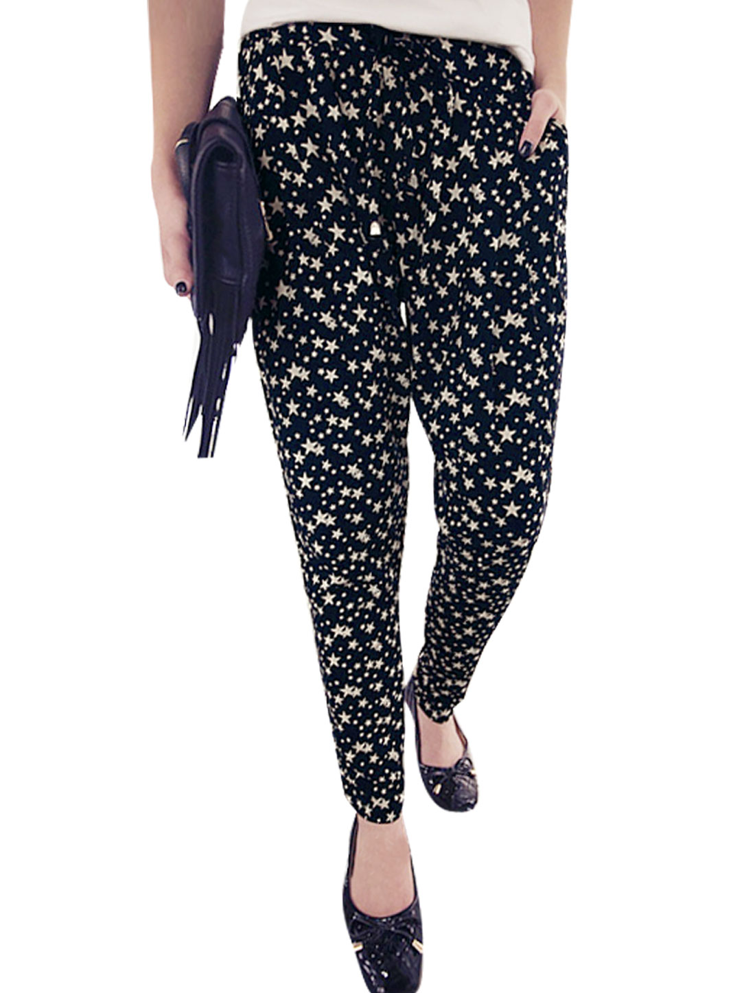 Woman Stars Pattern Elastic Drawstring Waist Mid Rise Casual Pants Navy Blue XS