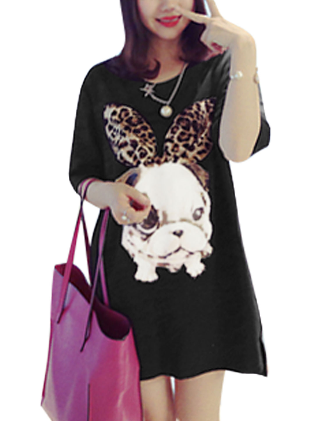 Women Round Neck Elbow Sleeves Dogs Prints Tunic T-Shirts Black XS