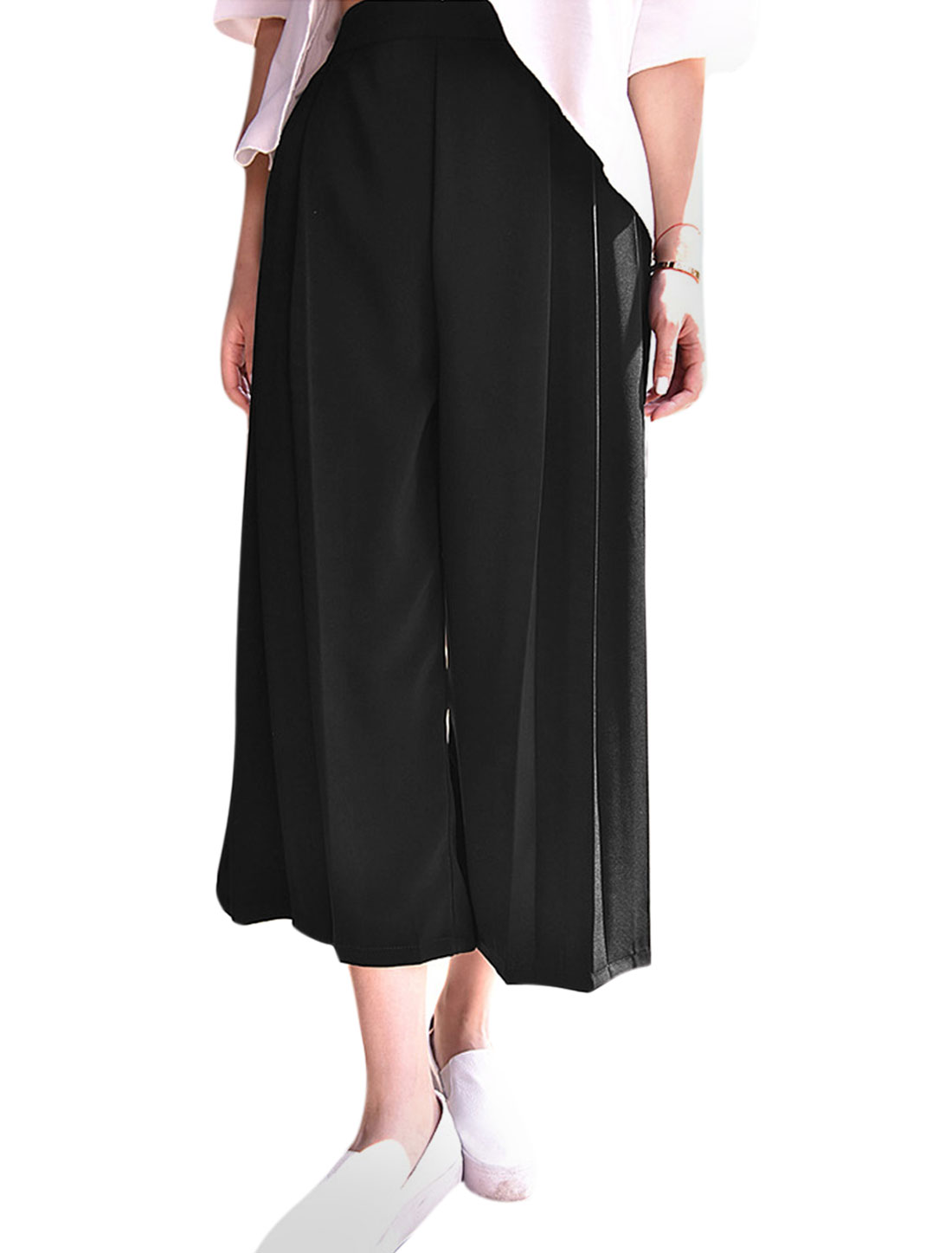 Woman High Waist Loose Fit Casual Wide Leg Cropped Trousers Black XS