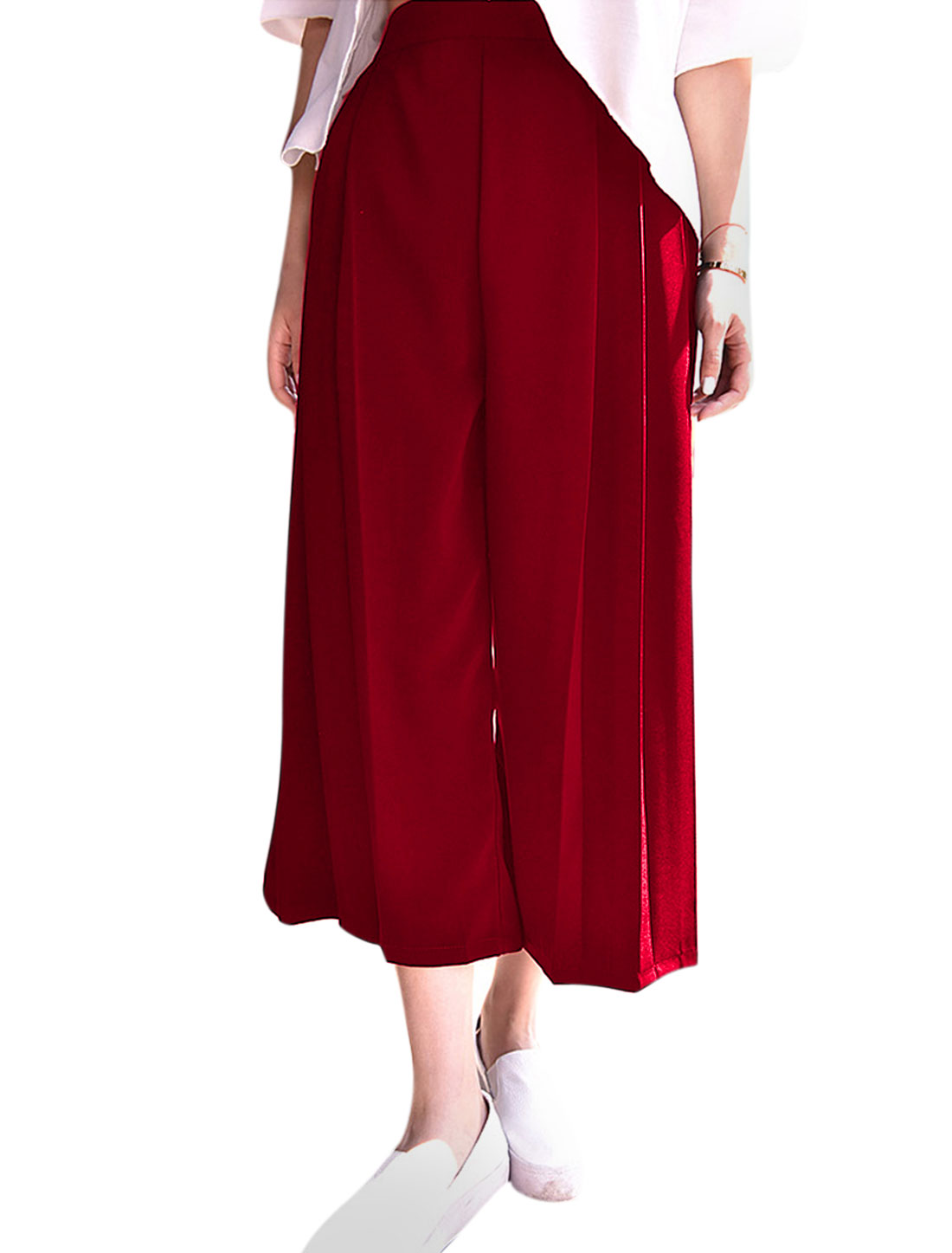 Ladies High Waist Loose Fit Casual Wide Leg Cropped Pants Red XS