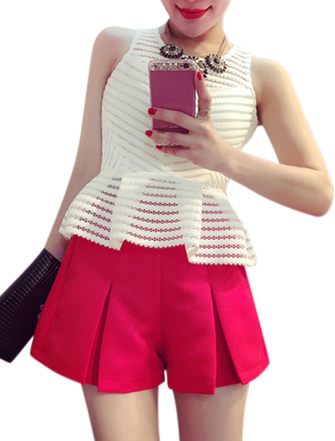 Women Round Neck Sleeveless Striped Design Peplum Tops White S