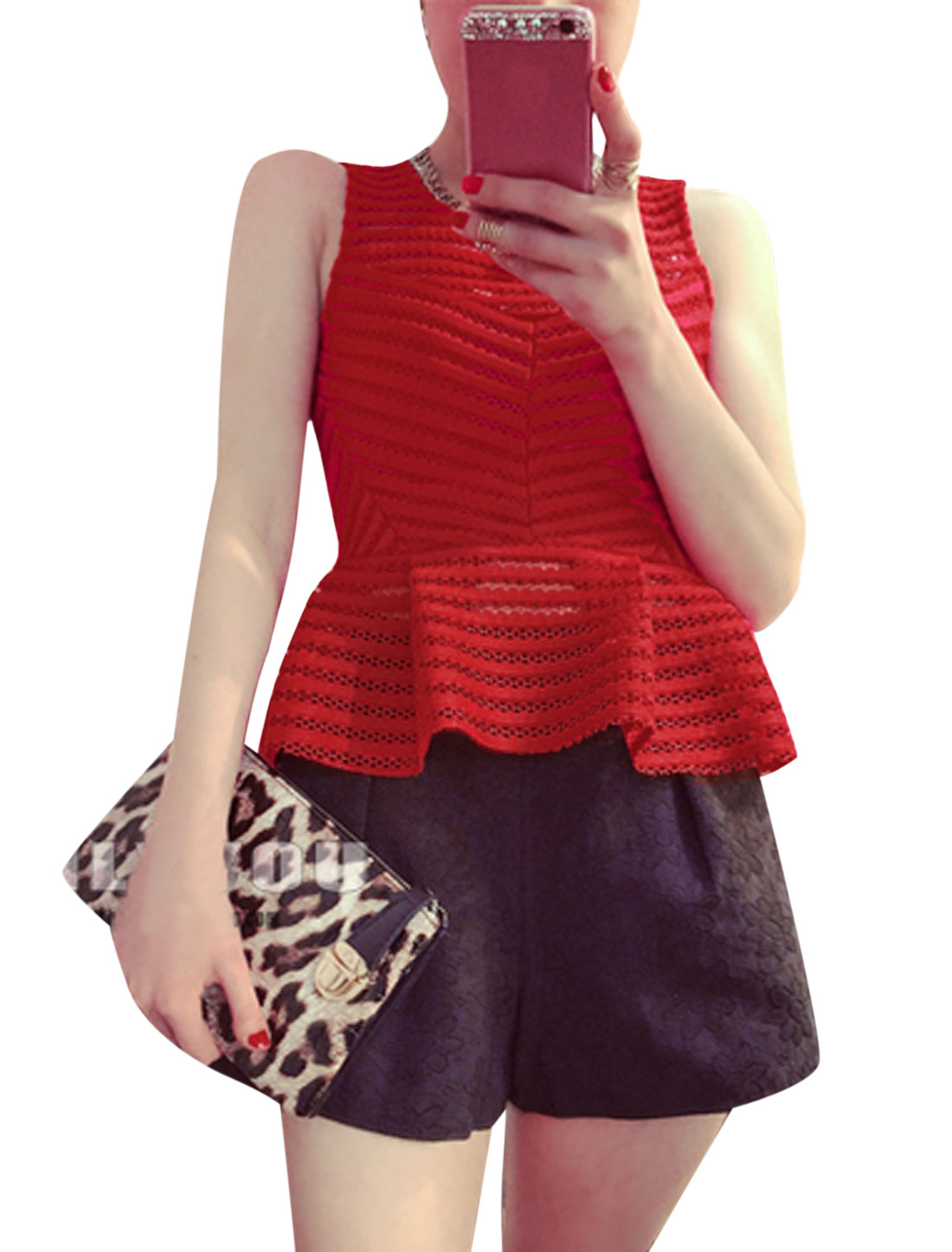 Lady Sleeveless Striped Design Hollow Out Peplum Tops Red XS