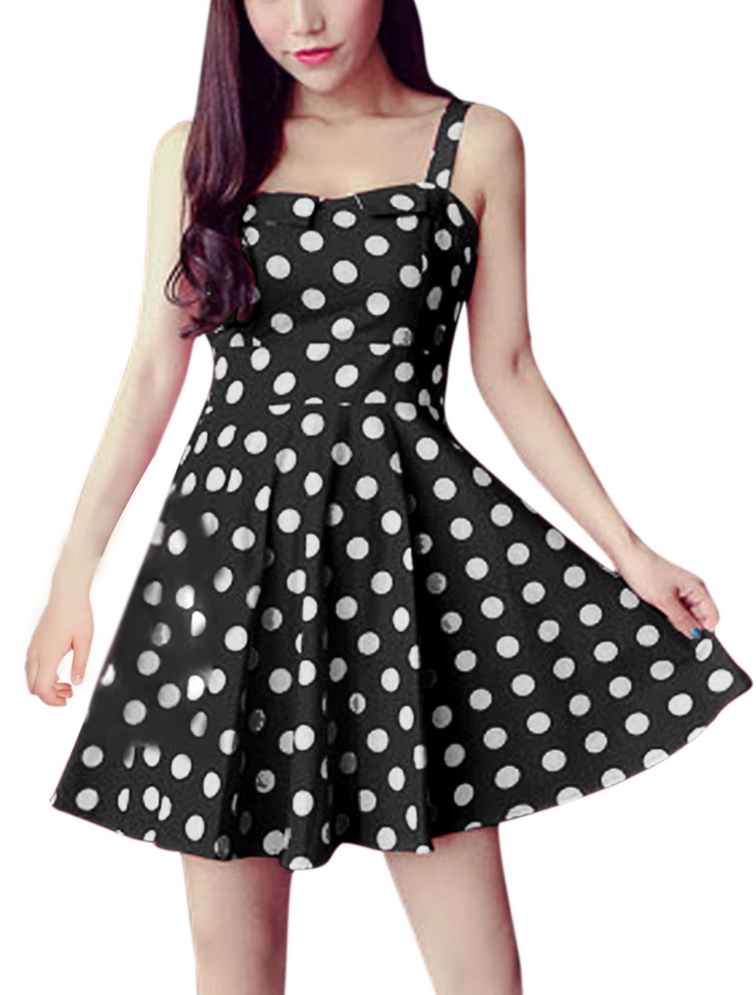 Woman Polka Dots Prints Square Neckline Sleeveless A Line Dress Black XS