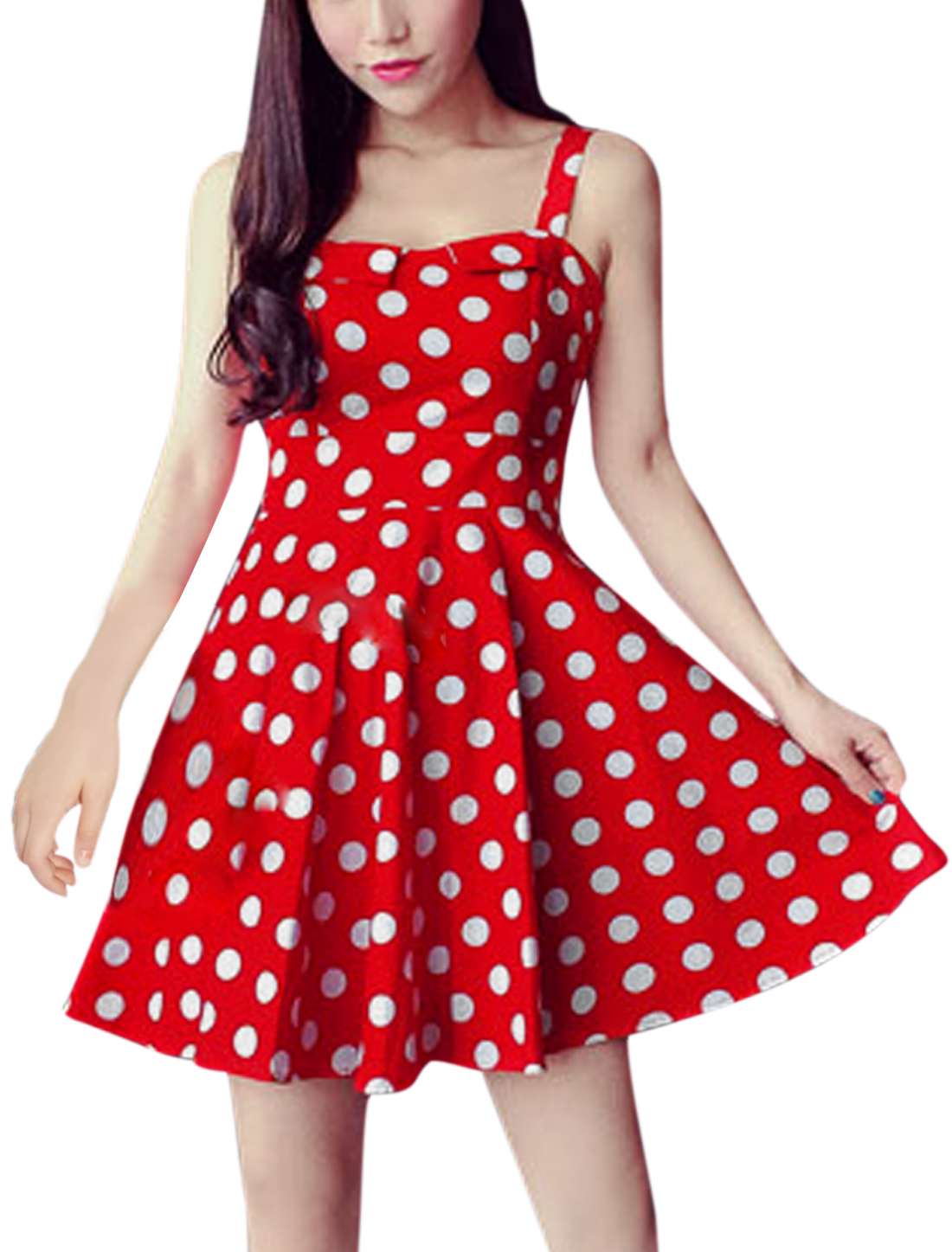 Woman Polka Dots Prints Sleeveless Hidden Zipper Back A Line Dress Red XS