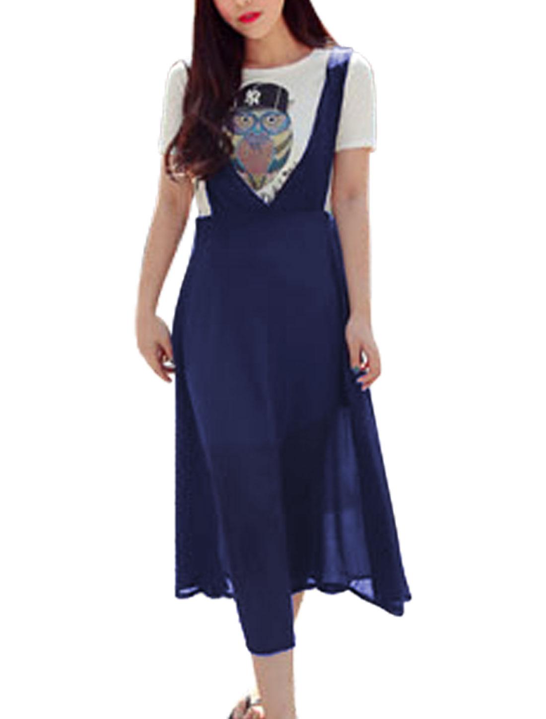 Woman Sleeveless Hidden Zipper Side Suspender Skirt Navy Blue XS