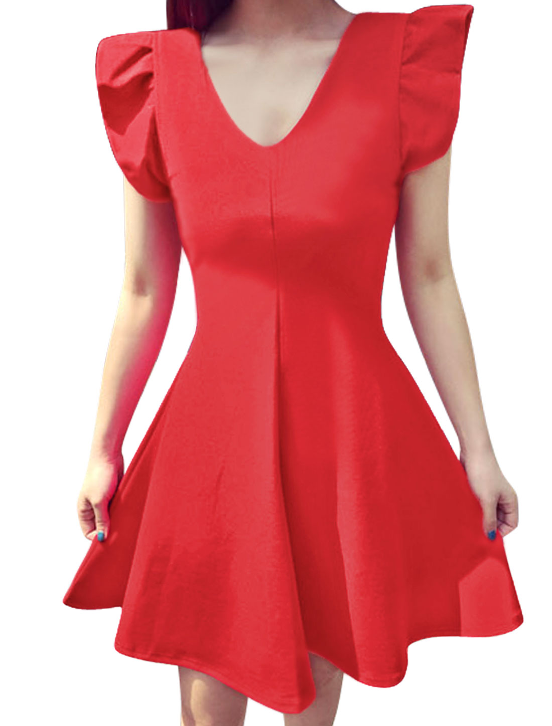 Woman V Neck Cut Out Bowknot Back Unlined A Line Dress Red S