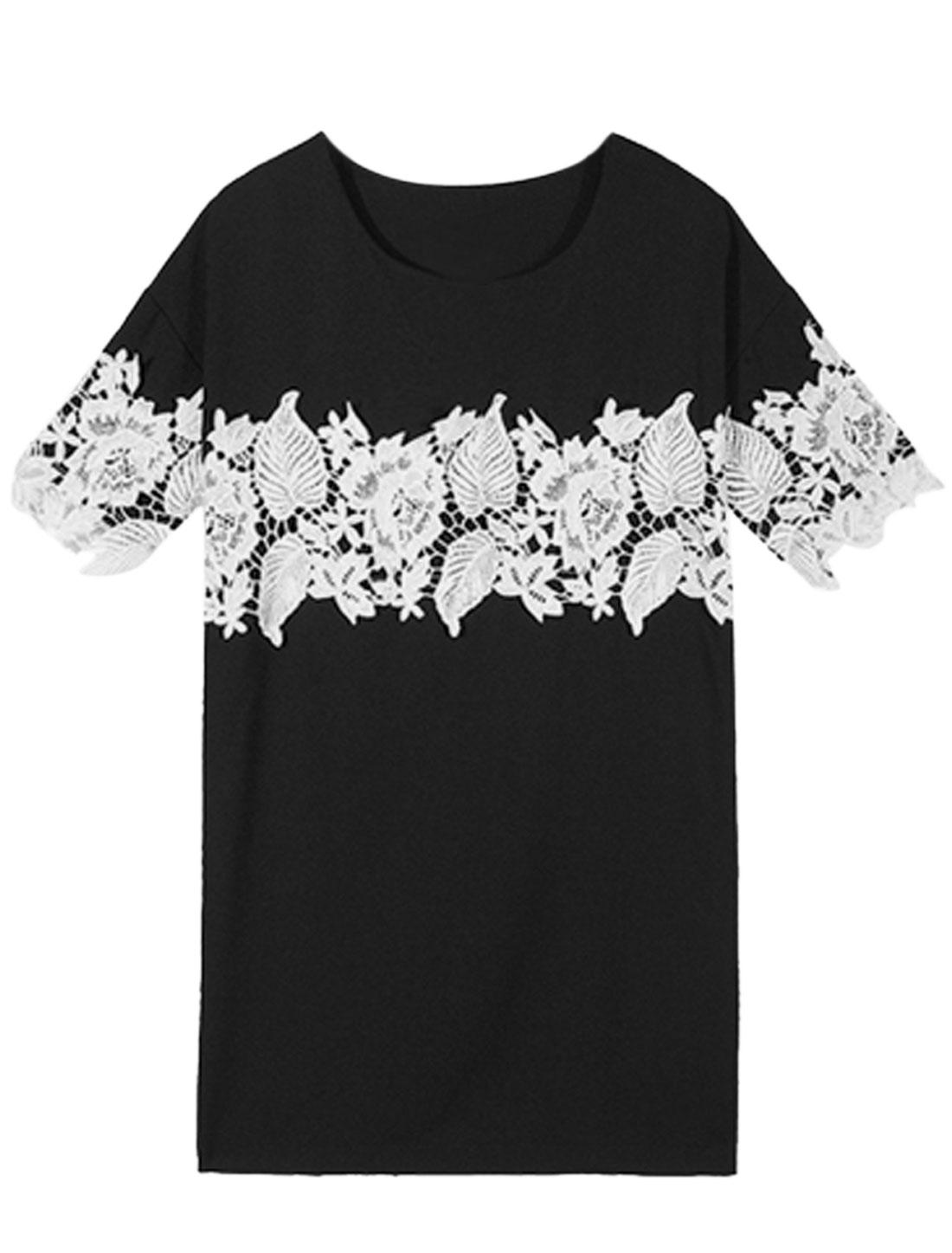 Women Round Neck Short Sleeves Crochet T Shirt Dress Black XS