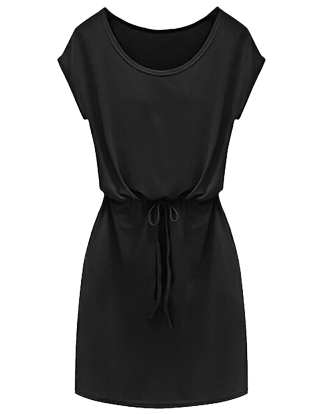 Women Round Neck Short Sleeves Drawstring Waist Casual Dress Black XS
