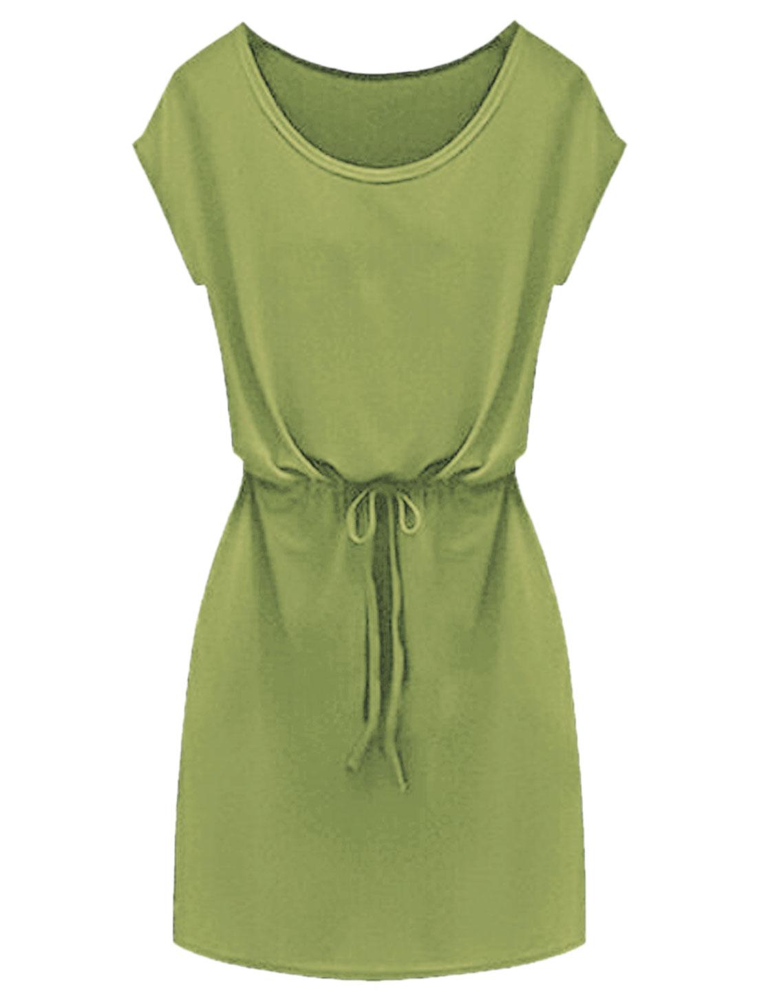 Lady Short Sleeves Seam Pockets Tunic Dress Army Green XS