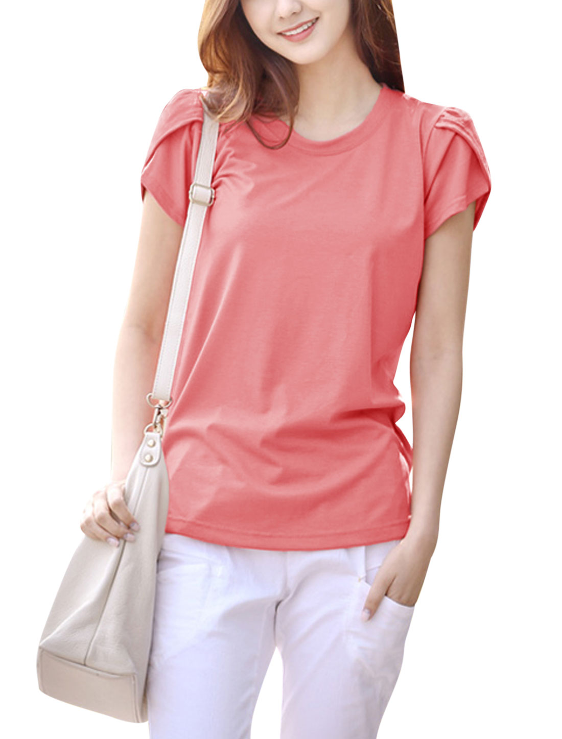 Lady Round Neck Petal Sleeves Split Sides Casual Tops Pink S