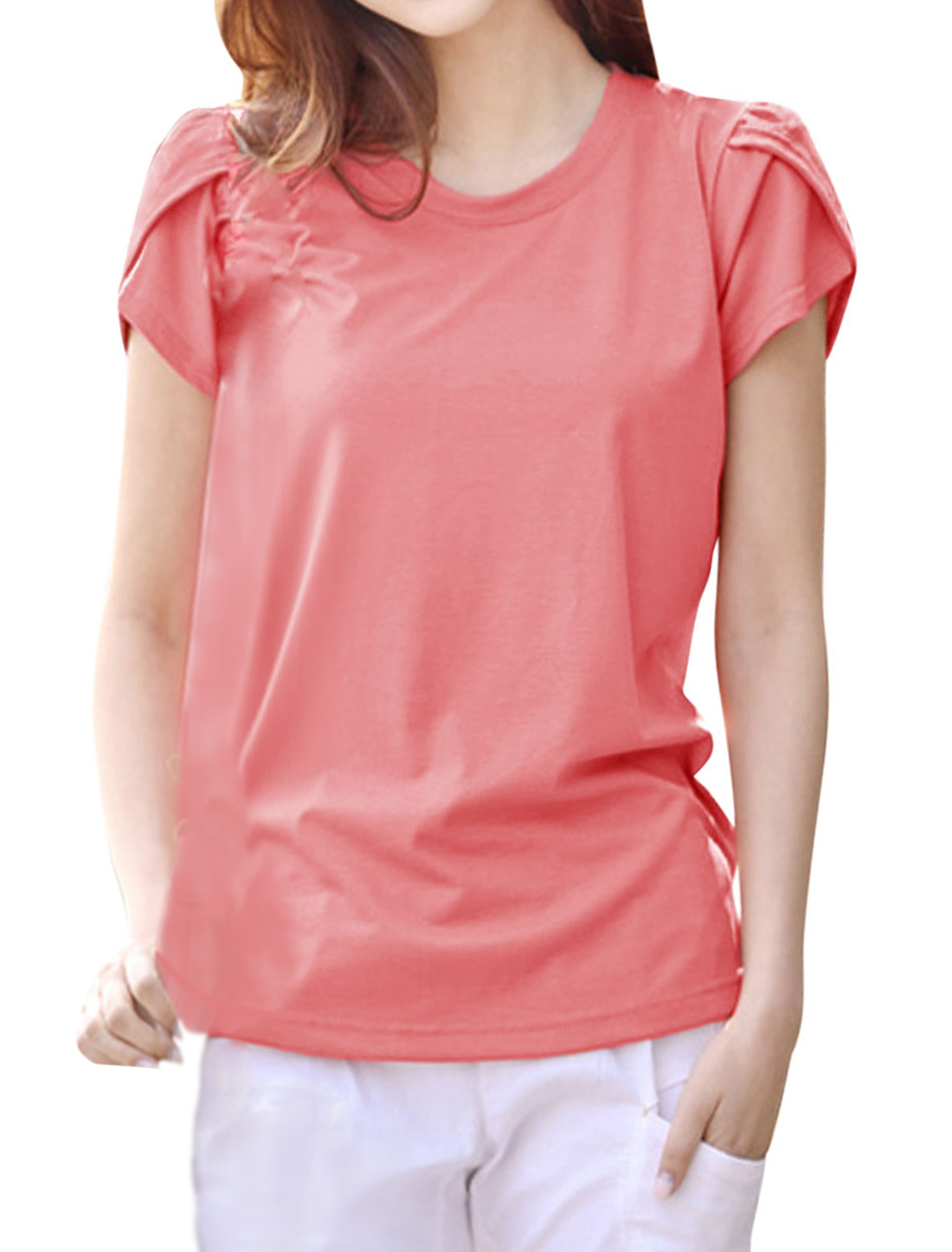 Ladies Round Neck Petal Sleeves Curved Hem Casual Tops Pink M
