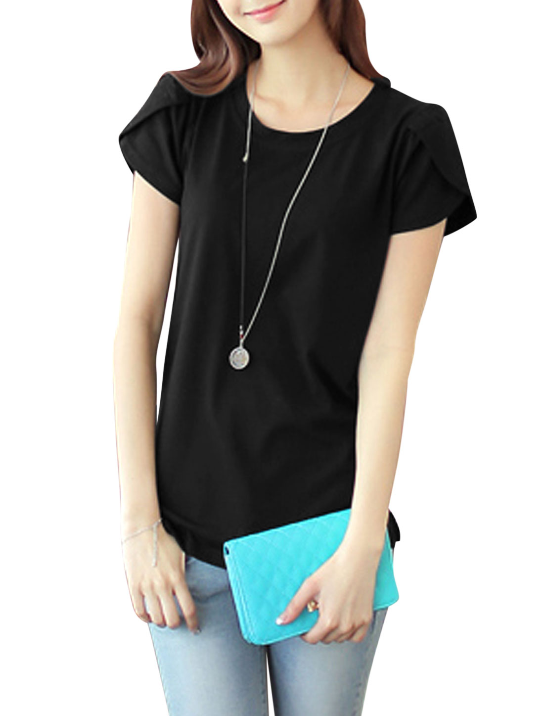 Lady Round Neck Petal Sleeves Curved Hem Casual Tops Black M