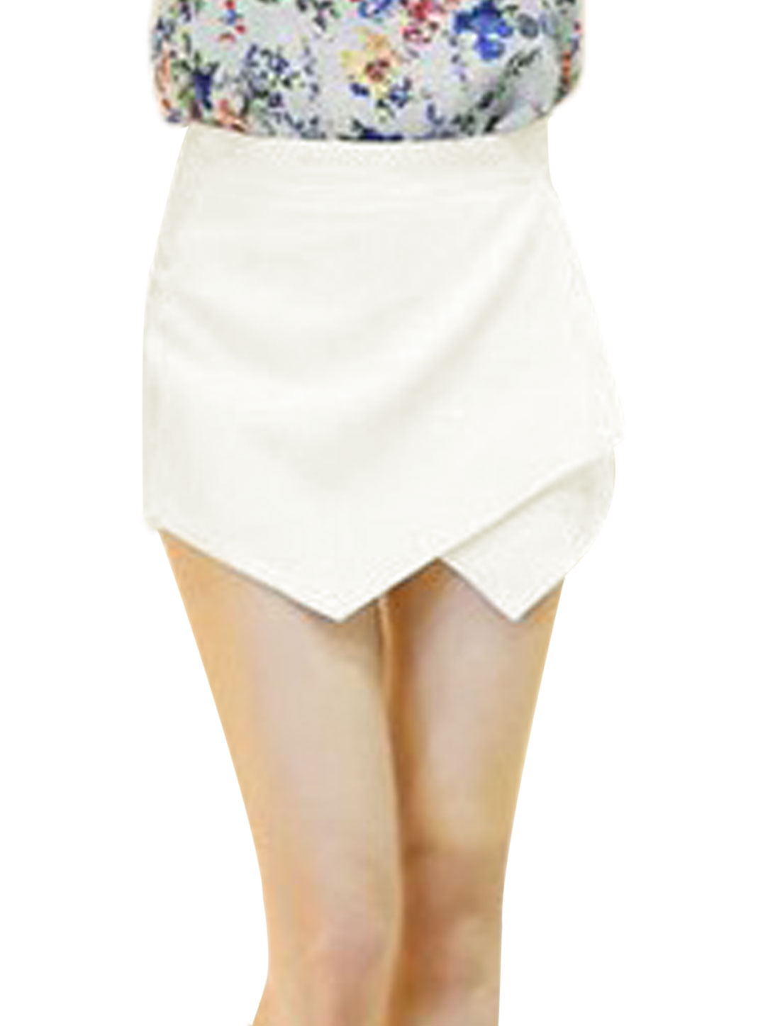 Woman Over-lay Front Mid Rise Concealed Zipper Side Casual Skort White M