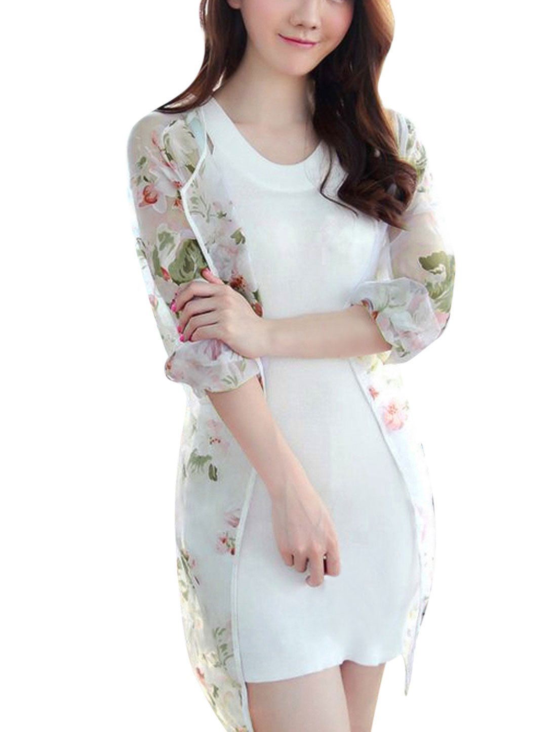 Ladies Front Opening Floral Print Semi Sheer Tunic Cardigan White XS