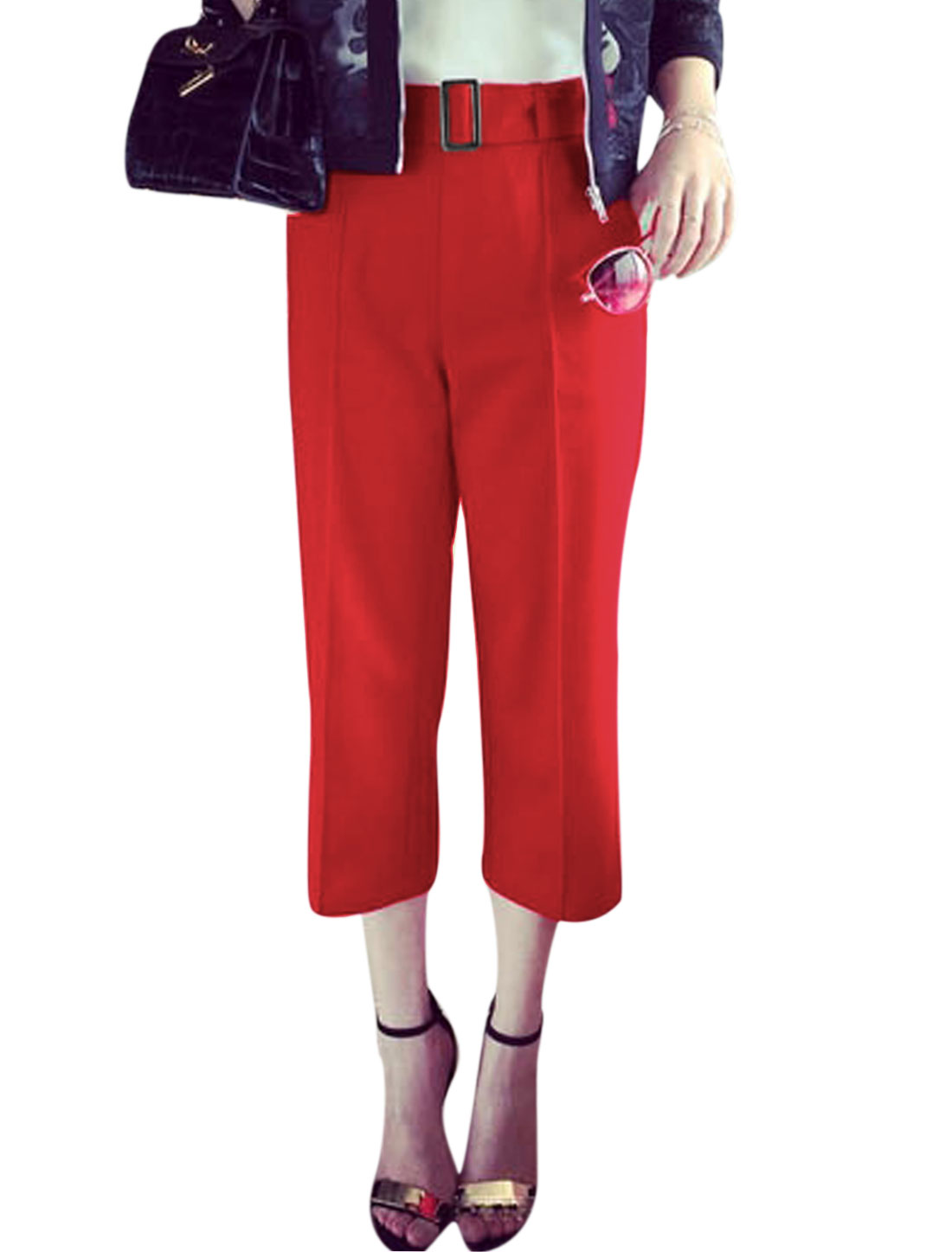 Women High Rise Zipper Side Two Slant Pockets Cropped Pants Red M