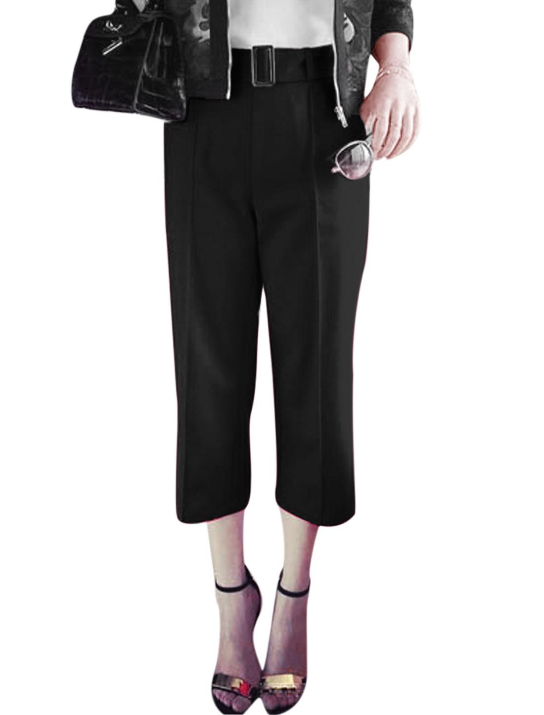 Ladies High Rise Zipper Side Cropped Pants w Waist Belt Black M